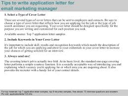 Sending Resume By Email Sample by Email Marketing Manager Application Letter
