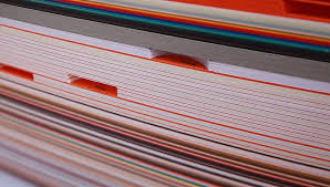 texture paper stack of colored cardboard stock footage