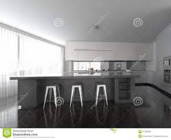 Grey White Kitchen Spacious Open Plan Modern Grey And White Kitchen Stock