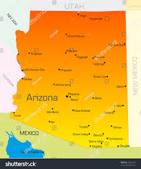 Map Of Arizona With Cities by Vector Color Map Arizona State Usa Stock Vector 25832440