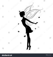 silhouette fairy butterfly vector illustration isolated stock