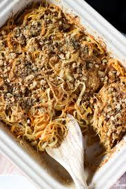 Main Dish With Sauce - spiralized root vegetable casserole with vegan shallot alfredo
