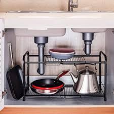 sink kitchen cabinet organizer rice rat 2 tiers extendable sink organizer shelf organizer storage rack black