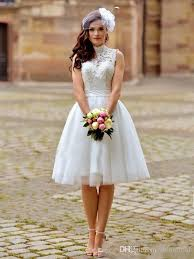high wedding dresses lace wedding dresses with a line princess high neck knee length