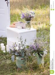 wedding decorations in style provence stock photo image