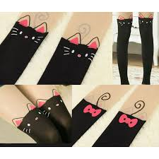 animal print tattoo stockings cat with top