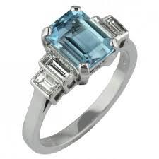 emerald rings uk aquamarine and diamond deco style ring made in uk