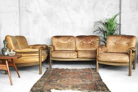 German Leather Sofas German Leather Living Room Set With 2 Sofas Armchair 1973 For