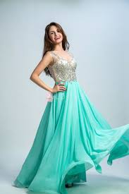 stunning beaded green chiffon v neck floor length a line prom