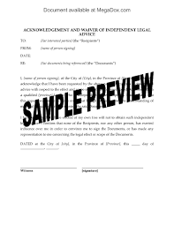 canada acknowledgement and waiver of independent legal advice