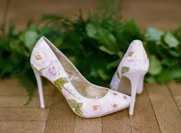 wedding shoes green elizabeth design beautiful painted floral wedding shoes