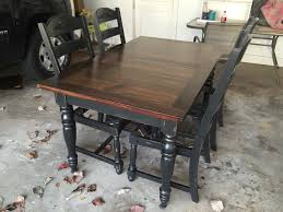 refinished oak table base and chairs chalk painted black velvet