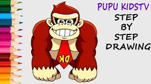 draw donkey kong coloring pages kids art colors