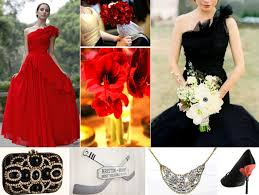 black gold and red wedding decor and bridal style ideas