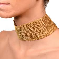 gold metal choker necklace images Wide gold choker necklace at 1stdibs jpeg