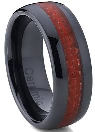 black men rings images 8mm dome men 39 s black ceramic ring wedding band with red carbon jpg