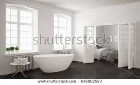 minimalist white scandinavian bathroom walkin closet stock