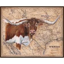 texas longhorn framed canvas