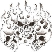 black and grey three skull in design by steve laube