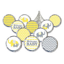 gray and yellow elephant baby shower favor stickers for hershey