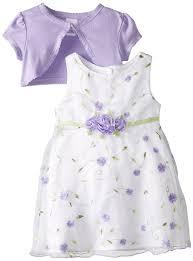 amazon com youngland baby girls u0027 purple schiffli dress with knit
