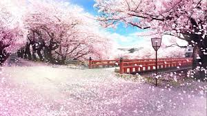 nd please add japanese sakura cherry trees with falling petals