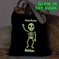 personalized halloween treat bag glow in the dark skeleton