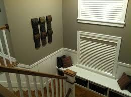 Custom Window Seat Cushions Staircase Landing Pewter Paint Dark Hardwood White Wainscot