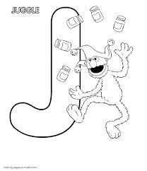 grover juggle and the letter j abc coloring pages