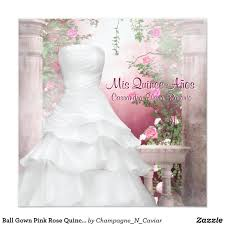 ball gown pink rose quinceanera card beautiful white ball gown and