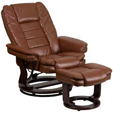 contemporary brown vintage leather recliner and ottoman with swiveling gany wood base