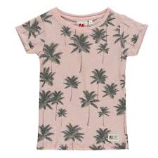 sleeve palm tree t shirt pale pink ao76 fashion