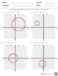 graphing equations of circles worksheets math aids com