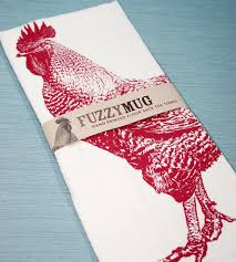 red rooster hand printed flour sack kitchen towels home kitchen