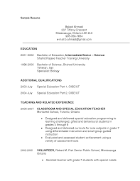 Sample Resume Objectives For Volunteer by Sample Resume For Special Education Assistant Free Resume