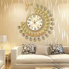 living room wall clock 65cm large peacock wall clock modern design living room bedroom