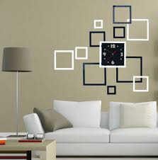 home decor wall clocks square 3d home decor wall stickers diy mirror surface art office