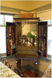 armoire over the door mirrored hanging jewelry armoire with