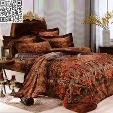 rust orange brown paisley double queen king size bed quilt doona