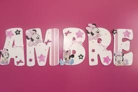 Chambre Enfant Minnie - ambre 2 baby minnie lettres en bois personnalisées