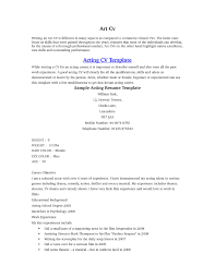 beginner acting cover letter actor resume template pages samp saneme