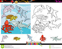 sea life cartoon coloring page set stock vector image 44925658