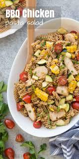 bbq chicken pasta salad with tomatoes zucchini u0026 corn