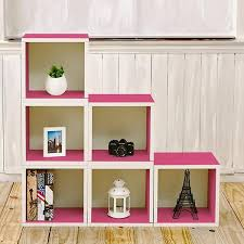 Bookcase Clips Storage Cubes In Pink And Stackable Cubby Bookcase Way Basics