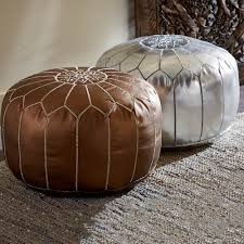 Leather Moroccan Ottoman by Moroccan Metallic Leather Pouf Collection Vivaterra