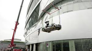 mercedes benz museum stuttgart mercedes sls amg flies onto the mercedes benz museum stuttgart video