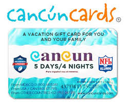 vacation gift cards cancun vacation gift cards nfl alumni