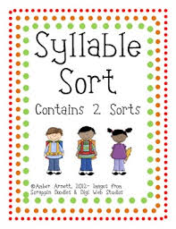freebie syllable sort a cut u0026 paste activity by amber marker tpt