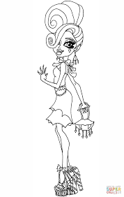 frights camera action draculaura doll coloring page free