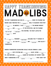 thanksgiving mad libs printable thanksgiving and mad